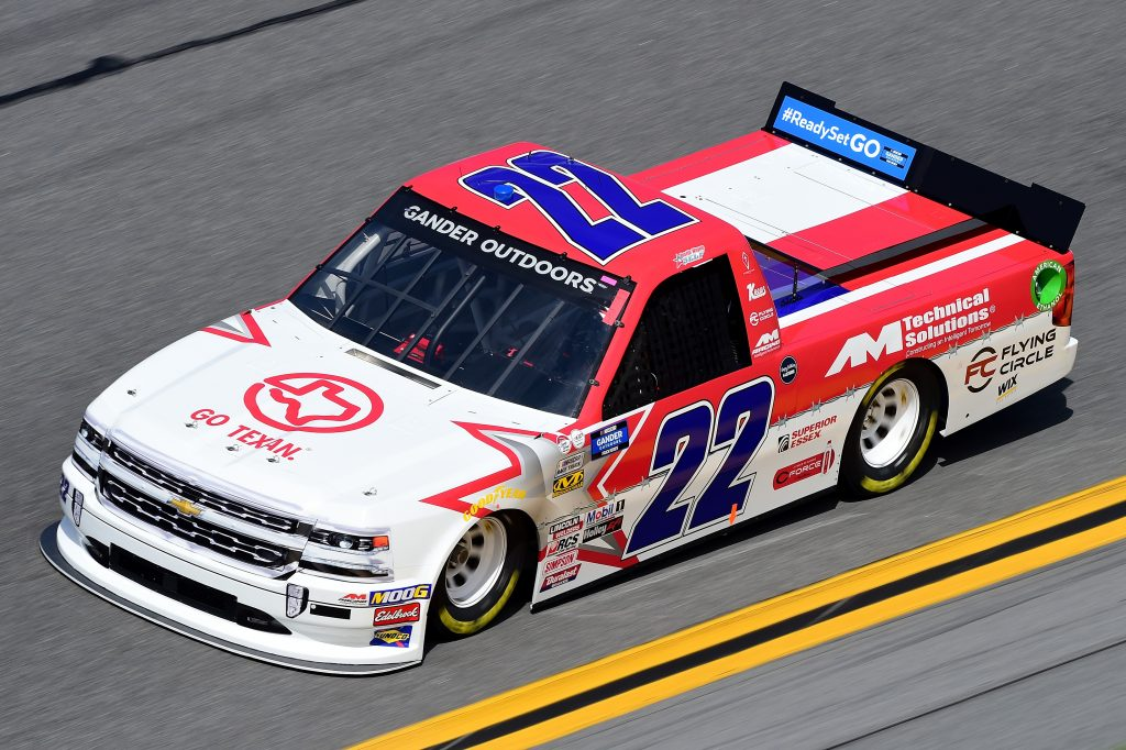 DAYTONA BEACH, FL - FEBRUARY 14: Austin Wayne Self, driver of the #22 GO TEXAN Chevrolet, practices for the NASCAR Gander Outdoor Truck Series NextEra Energy 250 at Daytona International Speedway on February 14, 2019 in Daytona Beach, Florida. (Photo by Jared C. Tilton/Getty Images) | Getty Images