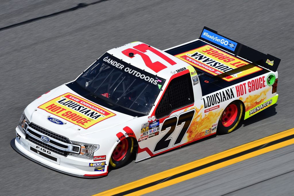 DAYTONA BEACH, FL - FEBRUARY 14: Myatt Snider, driver of the #27 Ford, practices for the NASCAR Gander Outdoor Truck Series NextEra Energy 250 at Daytona International Speedway on February 14, 2019 in Daytona Beach, Florida. (Photo by Jared C. Tilton/Getty Images) | Getty Images