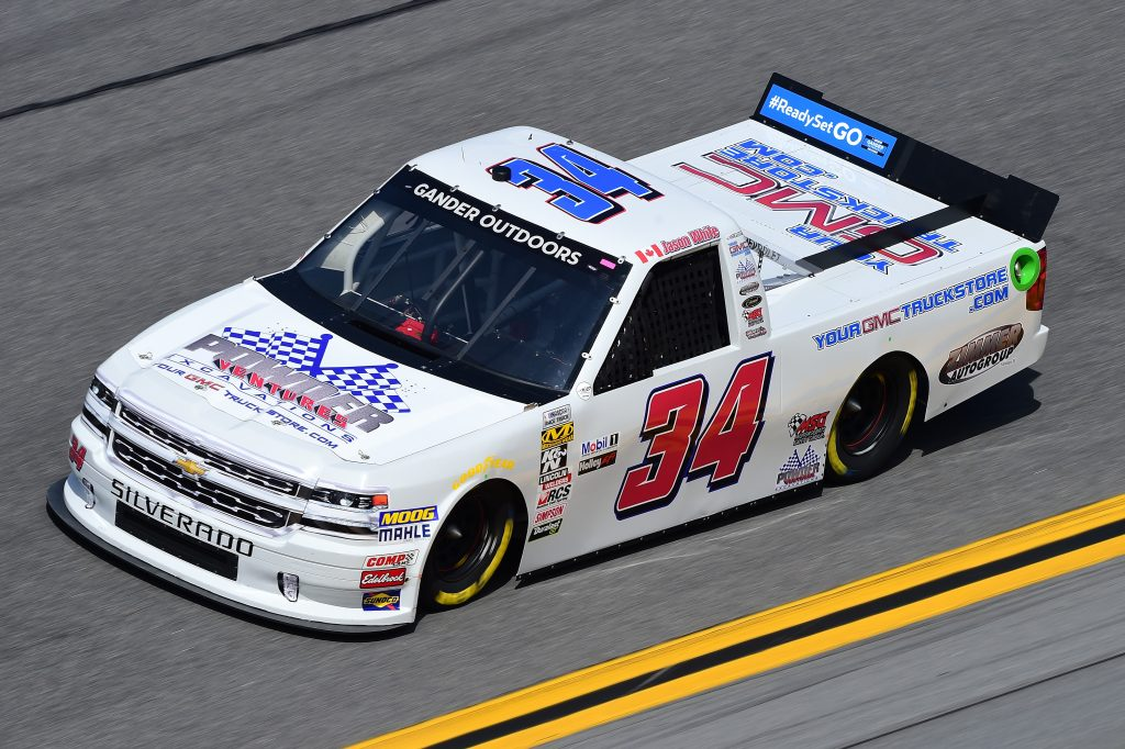 DAYTONA BEACH, FL - FEBRUARY 14: Jason White, driver of the #34 Powder Ventures Excavations Chevrolet, practices for the NASCAR Gander Outdoor Truck Series NextEra Energy 250 at Daytona International Speedway on February 14, 2019 in Daytona Beach, Florida. (Photo by Jared C. Tilton/Getty Images) | Getty Images