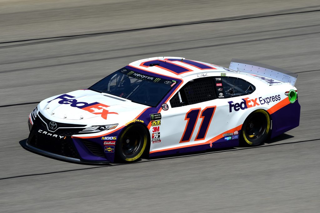 JOLIET, ILLINOIS - JUNE 29: Denny Hamlin, driver of the #11 FedEx Express Toyota, practices for the Monster Energy NASCAR Cup Series Camping World 400 at Chicagoland Speedway on June 29, 2019 in Joliet, Illinois. (Photo by Jared C. Tilton/Getty Images) | Getty Images