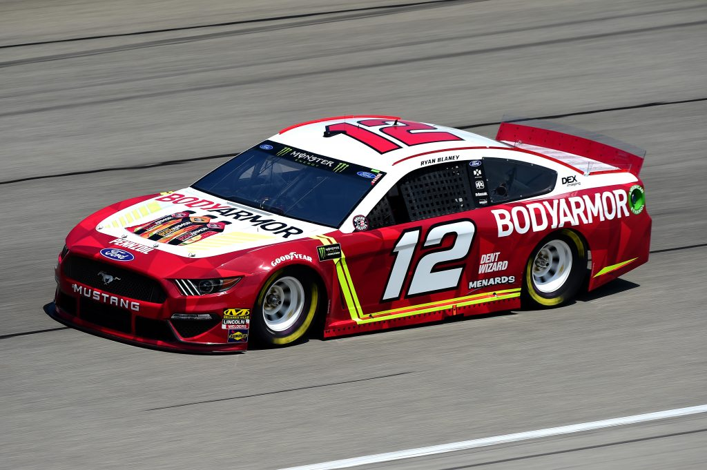 JOLIET, ILLINOIS - JUNE 29: Ryan Blaney, driver of the #12 BodyArmor Ford, practices for the Monster Energy NASCAR Cup Series Camping World 400 at Chicagoland Speedway on June 29, 2019 in Joliet, Illinois. (Photo by Jared C. Tilton/Getty Images) | Getty Images