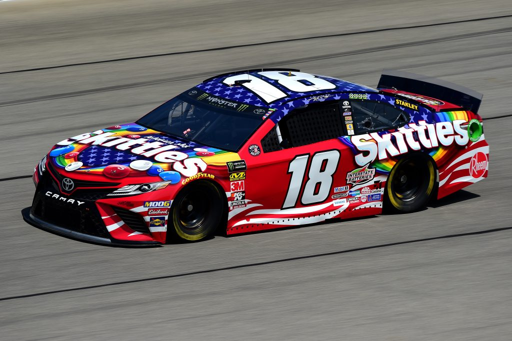 JOLIET, ILLINOIS - JUNE 29: Kyle Busch, driver of the #18 Skittles Red White & Blue Toyota, practices for the Monster Energy NASCAR Cup Series Camping World 400 at Chicagoland Speedway on June 29, 2019 in Joliet, Illinois. (Photo by Jared C. Tilton/Getty Images) | Getty Images