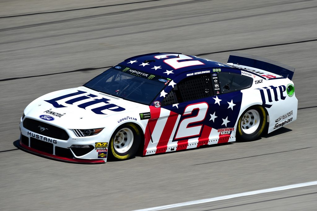 JOLIET, ILLINOIS - JUNE 29: Brad Keselowski, driver of the #2 Miller Lite Ford, practices for the Monster Energy NASCAR Cup Series Camping World 400 at Chicagoland Speedway on June 29, 2019 in Joliet, Illinois. (Photo by Jared C. Tilton/Getty Images) | Getty Images