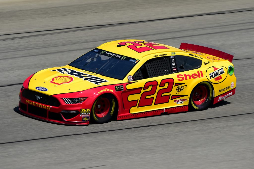 JOLIET, ILLINOIS - JUNE 29: Joey Logano, driver of the #22 Shell Pennzoil Ford, practices for the Monster Energy NASCAR Cup Series Camping World 400 at Chicagoland Speedway on June 29, 2019 in Joliet, Illinois. (Photo by Jared C. Tilton/Getty Images) | Getty Images