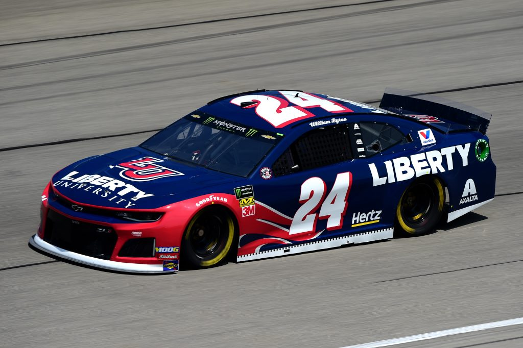 JOLIET, ILLINOIS - JUNE 29: William Byron, driver of the #24 Liberty University Chevrolet, practices for the Monster Energy NASCAR Cup Series Camping World 400 at Chicagoland Speedway on June 29, 2019 in Joliet, Illinois. (Photo by Jared C. Tilton/Getty Images) | Getty Images