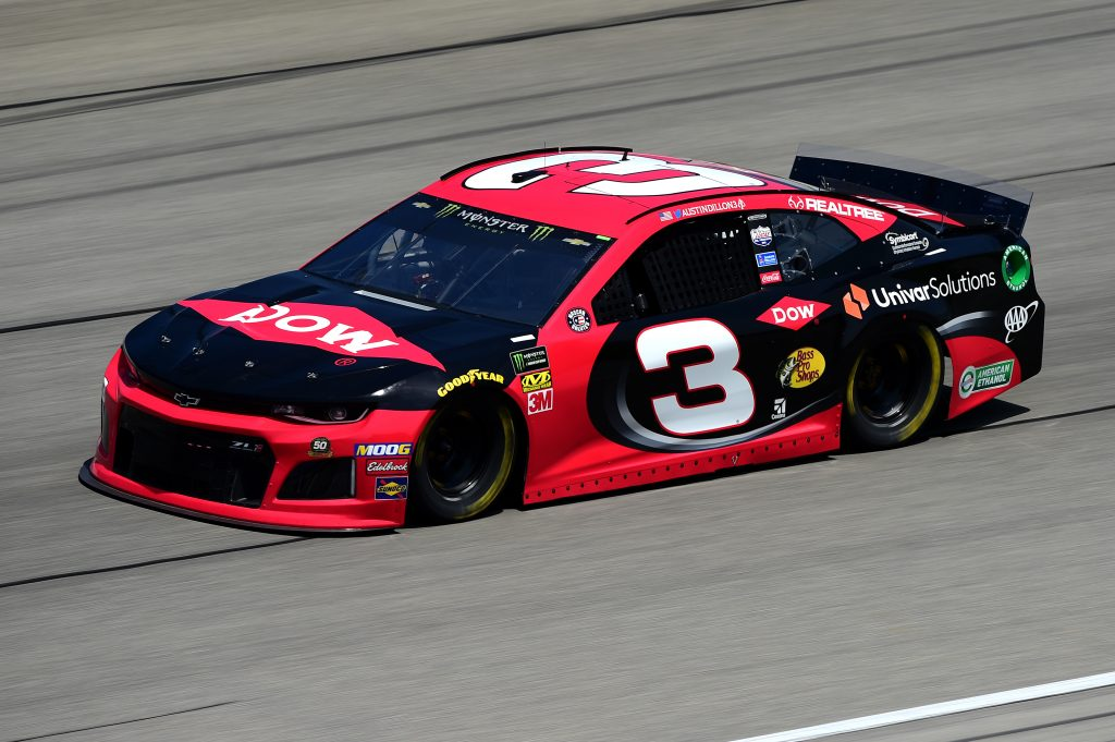 JOLIET, ILLINOIS - JUNE 29: Austin Dillon, driver of the #3 Dow Univar Solutions Chevrolet, practices for the Monster Energy NASCAR Cup Series Camping World 400 at Chicagoland Speedway on June 29, 2019 in Joliet, Illinois. (Photo by Jared C. Tilton/Getty Images) | Getty Images