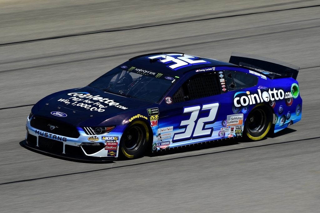 JOLIET, ILLINOIS - JUNE 29: Corey LaJoie, driver of the #32 Coin Lotto Ford, practices for the Monster Energy NASCAR Cup Series Camping World 400 at Chicagoland Speedway on June 29, 2019 in Joliet, Illinois. (Photo by Jared C. Tilton/Getty Images) | Getty Images
