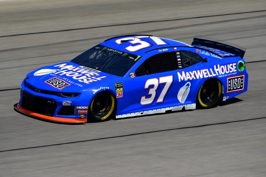 JOLIET, ILLINOIS - JUNE 29: Chris Buescher, driver of the #37 Maxwell House - USO Chevrolet, practices for the Monster Energy NASCAR Cup Series Camping World 400 at Chicagoland Speedway on June 29, 2019 in Joliet, Illinois. (Photo by Jared C. Tilton/Getty Images) | Getty Images