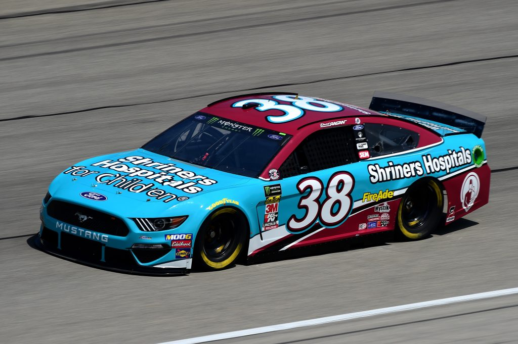 JOLIET, ILLINOIS - JUNE 29: David Ragan, driver of the #38 Shriners Hospitals for Children Ford, practices for the Monster Energy NASCAR Cup Series Camping World 400 at Chicagoland Speedway on June 29, 2019 in Joliet, Illinois. (Photo by Jared C. Tilton/Getty Images) | Getty Images