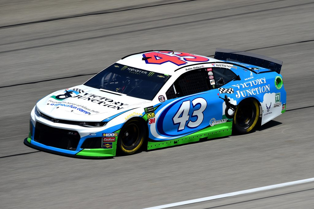 JOLIET, ILLINOIS - JUNE 29: Bubba Wallace, driver of the #43 Victory Junction Chevrolet, practices for the Monster Energy NASCAR Cup Series Camping World 400 at Chicagoland Speedway on June 29, 2019 in Joliet, Illinois. (Photo by Jared C. Tilton/Getty Images) | Getty Images