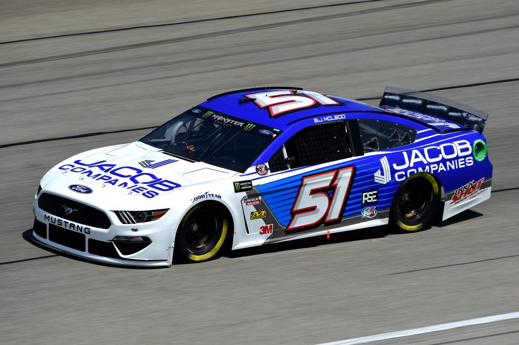 JOLIET, ILLINOIS - JUNE 29: BJ McLeod, driver of the #51 Jacob Companies Ford, practices for the Monster Energy NASCAR Cup Series Camping World 400 at Chicagoland Speedway on June 29, 2019 in Joliet, Illinois. (Photo by Jared C. Tilton/Getty Images) | Getty Images