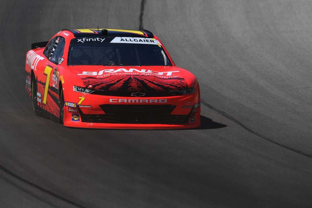 BROOKLYN, MICHIGAN - JUNE 07: Justin Allgaier, driver of the #7 BRANDT Professional Agriculture Chevrolet, drives during practice for the Monster Energy NASCAR Cup Series FireKeepers Casino 400 at Michigan International Speedway on June 07, 2019 in Brooklyn, Michigan. (Photo by Stacy Revere/Getty Images) | Getty Images
