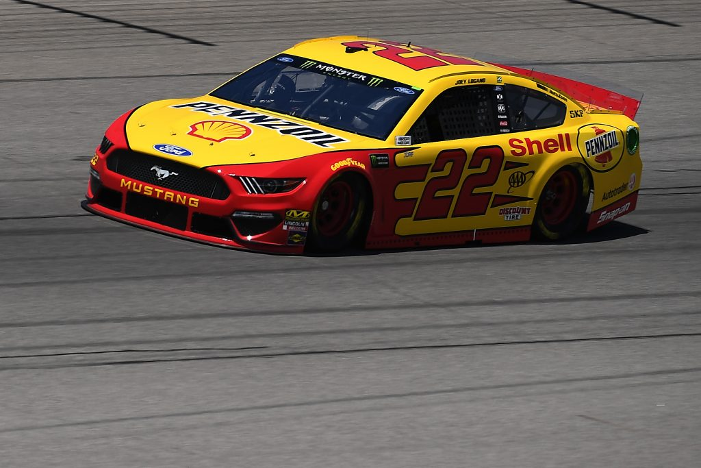BROOKLYN, MICHIGAN - JUNE 07: Joey Logano, driver of the #22 Shell Pennzoil Ford, drives during practice for the Monster Energy NASCAR Cup Series FireKeepers Casino 400 at Michigan International Speedway on June 07, 2019 in Brooklyn, Michigan. (Photo by Stacy Revere/Getty Images) | Getty Images
