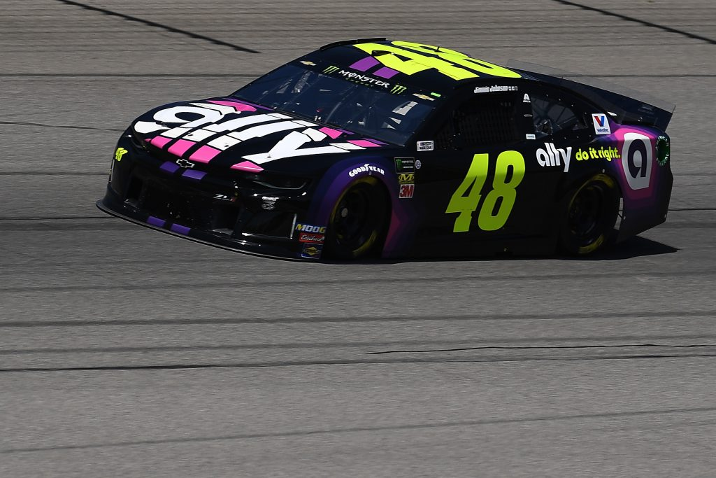 BROOKLYN, MICHIGAN - JUNE 07: Jimmie Johnson, driver of the #48 Ally Chevrolet, drives during practice for the Monster Energy NASCAR Cup Series FireKeepers Casino 400 at Michigan International Speedway on June 07, 2019 in Brooklyn, Michigan. (Photo by Stacy Revere/Getty Images) | Getty Images