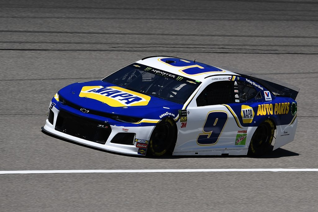 BROOKLYN, MICHIGAN - JUNE 07: Chase Elliott, driver of the #9 NAPA Auto Parts Chevrolet, drives during practice for the Monster Energy NASCAR Cup Series FireKeepers Casino 400 at Michigan International Speedway on June 07, 2019 in Brooklyn, Michigan. (Photo by Stacy Revere/Getty Images) | Getty Images