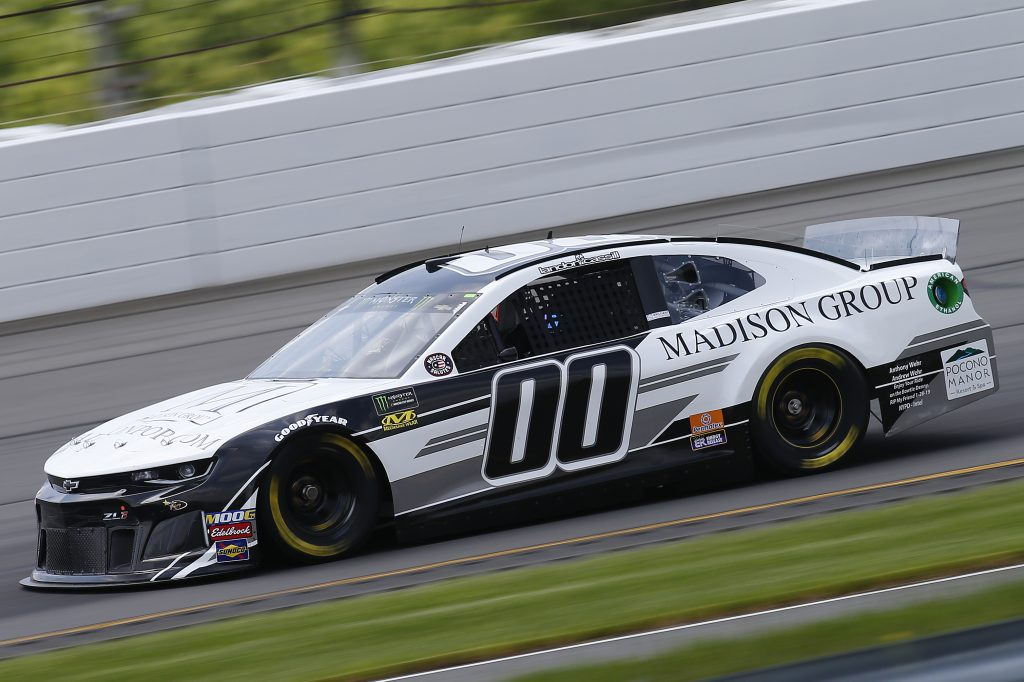 LONG POND, PENNSYLVANIA - MAY 31: Landon Cassill, driver of the #00 Madison Group Chevrolet, practices for the Monster Energy NASCAR Cup Series Pocono 400 at Pocono Raceway on May 31, 2019 in Long Pond, Pennsylvania. (Photo by Jonathan Ferrey/Getty Images) | Getty Images