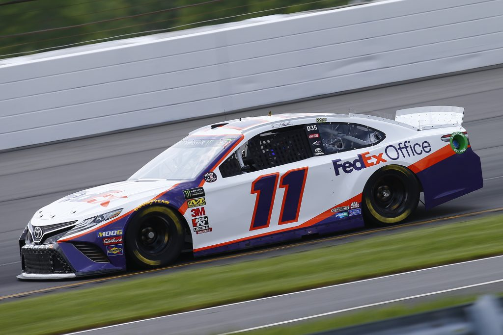 LONG POND, PENNSYLVANIA - MAY 31: Denny Hamlin, driver of the #11 FedEx Office Toyota, practices for the Monster Energy NASCAR Cup Series Pocono 400 at Pocono Raceway on May 31, 2019 in Long Pond, Pennsylvania. (Photo by Jonathan Ferrey/Getty Images) | Getty Images