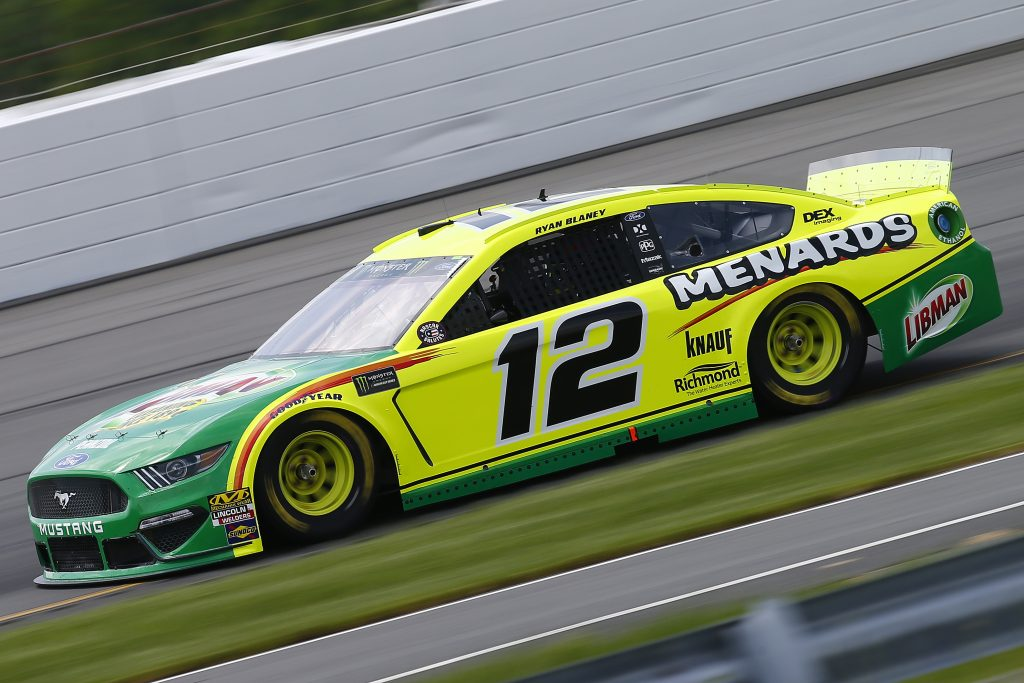 LONG POND, PENNSYLVANIA - MAY 31: Ryan Blaney, driver of the #12 Menards/Libman Ford, practices for the Monster Energy NASCAR Cup Series Pocono 400 at Pocono Raceway on May 31, 2019 in Long Pond, Pennsylvania. (Photo by Jonathan Ferrey/Getty Images) | Getty Images