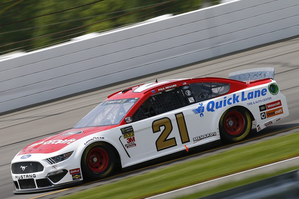 LONG POND, PENNSYLVANIA - MAY 31: Paul Menard, driver of the #21 Motorcraft/Quick Lane Tire & Auto Center Ford, practices for the Monster Energy NASCAR Cup Series Pocono 400 at Pocono Raceway on May 31, 2019 in Long Pond, Pennsylvania. (Photo by Jonathan Ferrey/Getty Images) | Getty Images