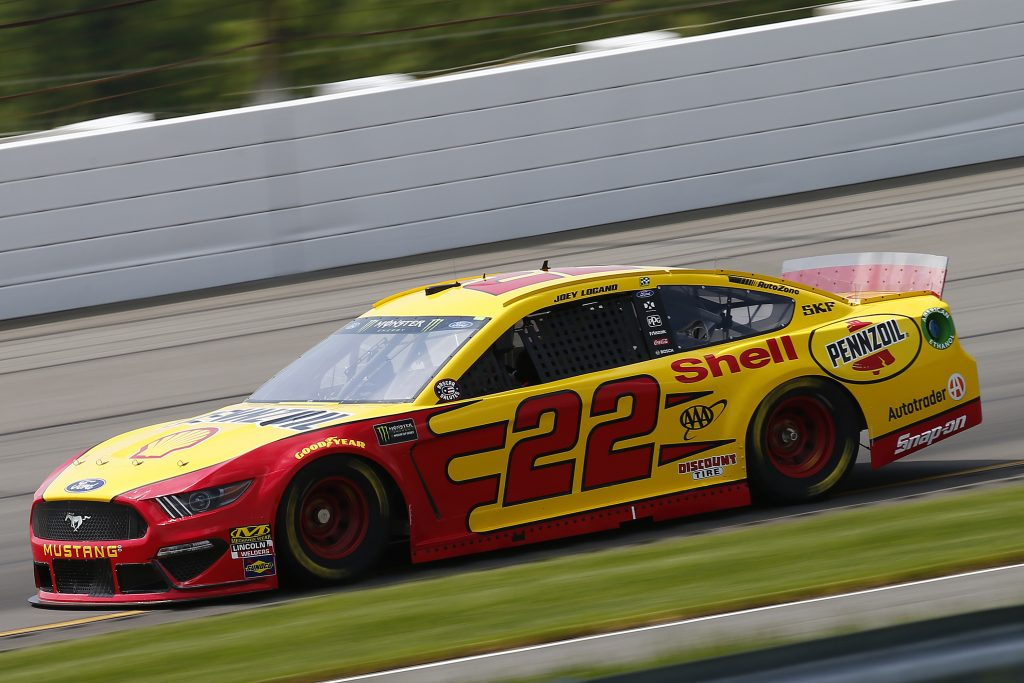 LONG POND, PENNSYLVANIA - MAY 31: Joey Logano, driver of the #22 Shell Pennzoil Ford, practices for the Monster Energy NASCAR Cup Series Pocono 400 at Pocono Raceway on May 31, 2019 in Long Pond, Pennsylvania. (Photo by Jonathan Ferrey/Getty Images) | Getty Images