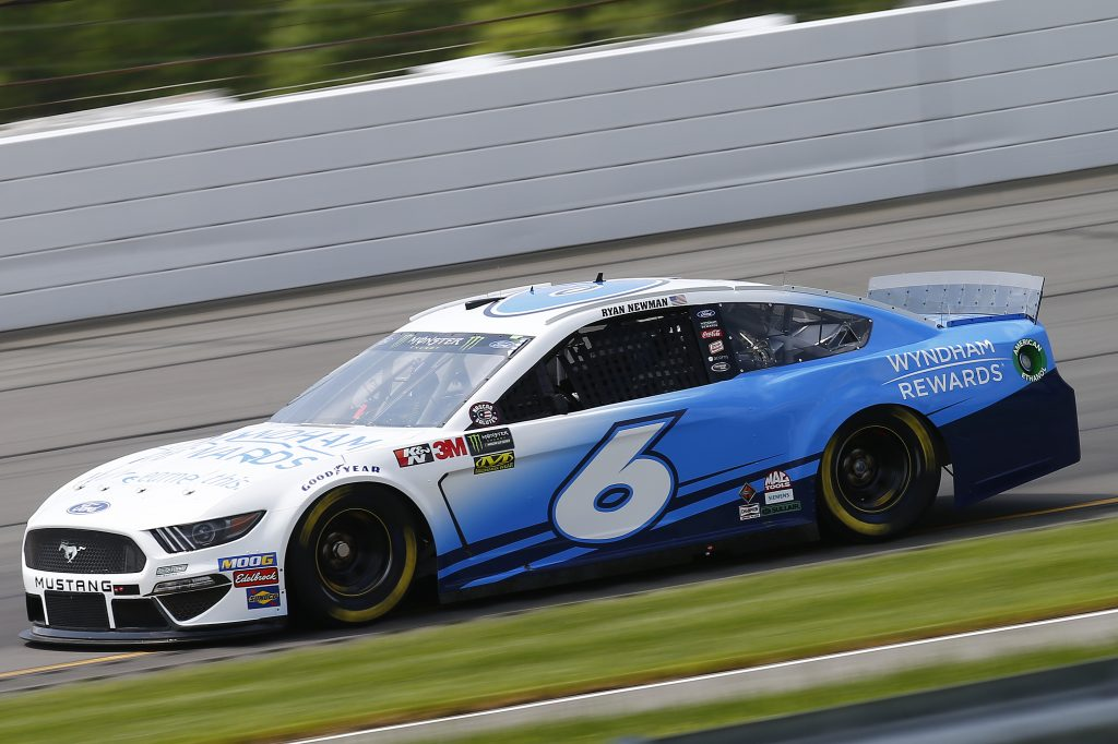 LONG POND, PENNSYLVANIA - MAY 31: Ryan Newman, driver of the #6 Wyndham Rewards Ford, practices for the Monster Energy NASCAR Cup Series Pocono 400 at Pocono Raceway on May 31, 2019 in Long Pond, Pennsylvania. (Photo by Jonathan Ferrey/Getty Images) | Getty Images
