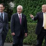 WASHINGTON, DC - APRIL 30:  (L-R) 2018 Monster Energy NASCAR Cup Series Champion Joey Logano, Team Penske owner Roger Penske and U.S. President Donald Trump arrive for a ceremony celebrating Logano's victory on the South Lawn of the White House April 30, 2019 in Washington, DC. Nicknamed 'Sliced Bread,