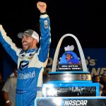 MADISON, IL - JUNE 22: Ross Chastain, driver of the CarSheild.com Chevrolet, celebrates in victory lane after winning the NASCAR Gander Outdoors Truck Series CarShield 200 presented by CK at Gateway Motorsports Park on June 22, 2019 in Madison, Illinois. (Photo by Jeff Curry/Getty Images) | Getty Images