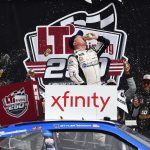 BROOKLYN, MICHIGAN - JUNE 08: Tyler Reddick, driver of the #2 KC Motorgroup Chevrolet, celebrates in Victory Lane after winning the NASCAR Xfinity Series LTi Printing 250 at Michigan International Speedway on June 08, 2019 in Brooklyn, Michigan. (Photo by Logan Riely/Getty Images) | Getty Images