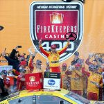BROOKLYN, MICHIGAN - JUNE 10: Joey Logano, driver of the #22 Shell Pennzoil Ford, celebrates in Victory Lane after winning the Monster Energy NASCAR Cup Series FireKeepers Casino 400 at Michigan International Speedway on June 10, 2019 in Brooklyn, Michigan. (Photo by Matt Sullivan/Getty Images) | Getty Images