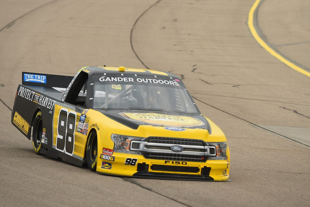 NEWTON, IOWA - JUNE 15: Grant Enfinger, driver of the #98 ProtectTheHarvest.com Ford, drives during practice for the NASCAR Gander Outdoor Truck Series M&M's 200 at Iowa Speedway on June 15, 2019 in Newton, Iowa. (Photo by Stacy Revere/Getty Images) | Getty Images