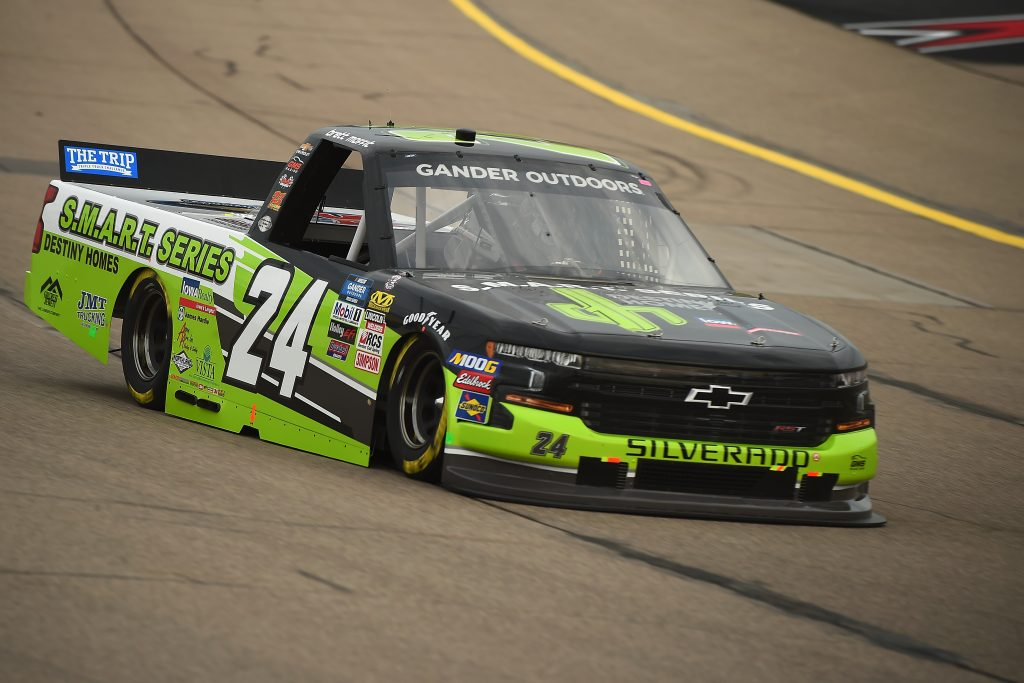 NEWTON, IOWA - JUNE 15: Brett Moffitt, driver of the #24 Destiny Homes Smart Series Chevrolet, drives during practice for the NASCAR Gander Outdoor Truck Series M&M's 200 at Iowa Speedway on June 15, 2019 in Newton, Iowa. (Photo by Stacy Revere/Getty Images) | Getty Images