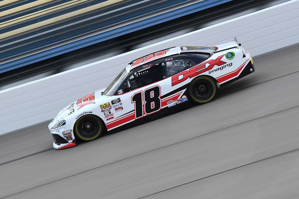 NEWTON, IOWA - JUNE 15: Harrison Burton, driver of the #18 Dex Imaging Toyota, drives during the NASCAR Xfinity Series CircuitCity.com 250 at Iowa Speedway on June 15, 2019 in Newton, Iowa. (Photo by Stacy Revere/Getty Images) | Getty Images