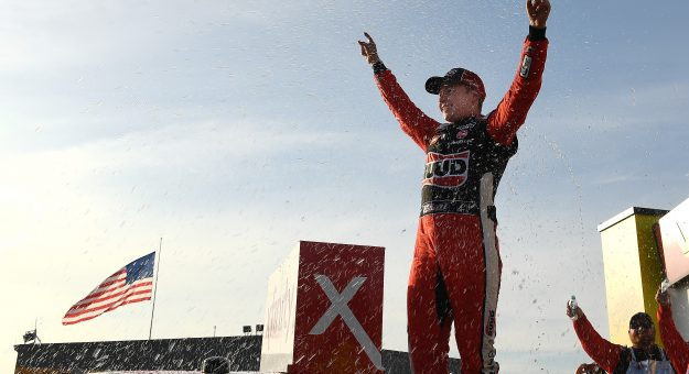 NEWTON, IOWA - JUNE 16: Christopher Bell, driver of the #20 Ruud Toyota, celebrates in Victory Lane after winning the NASCAR Xfinity Series CircuitCity.com 250 Presented by Tamron at Iowa Speedway on June 16, 2019 in Newton, Iowa. (Photo by Stacy Revere/Getty Images) | Getty Images