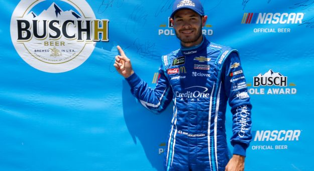 SONOMA, CALIFORNIA - JUNE 22: Kyle Larson, driver of the #42 Credit One Bank Chevrolet, celebrates after posting the quickest lap during qualifying for the Monster Energy NASCAR Cup Series Toyota/Save Mart 350 at Sonoma Raceway on June 22, 2019 in Sonoma, California. (Photo by Jonathan Ferrey/Getty Images) | Getty Images