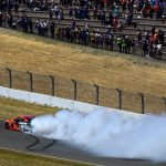 SONOMA, CALIFORNIA - JUNE 23: Martin Truex Jr., driver of the #19 Bass Pro Shops Toyota, celebrates with a burnout after winning the Monster Energy NASCAR Cup Series Toyota/Save Mart 350 at Sonoma Raceway on June 23, 2019 in Sonoma, California. (Photo by Jared C. Tilton/Getty Images) | Getty Images