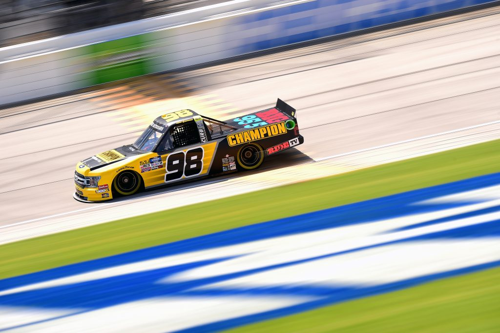 JOLIET, ILLINOIS - JUNE 27: Grant Enfinger, driver of the #98 Champion Power Equipment Ford, practices for the NASCAR Gander Outdoors Truck Series Camping World 225 at Chicagoland Speedway on June 27, 2019 in Joliet, Illinois. (Photo by Jared C. Tilton/Getty Images) | Getty Images