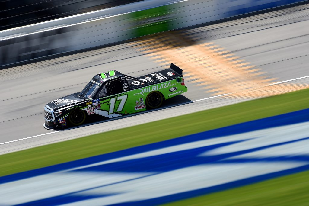 JOLIET, ILLINOIS - JUNE 27: Tyler Ankrum, driver of the #17 Railblaza Toyota, practices for the NASCAR Gander Outdoors Truck Series Camping World 225 at Chicagoland Speedway on June 27, 2019 in Joliet, Illinois. (Photo by Jared C. Tilton/Getty Images) | Getty Images