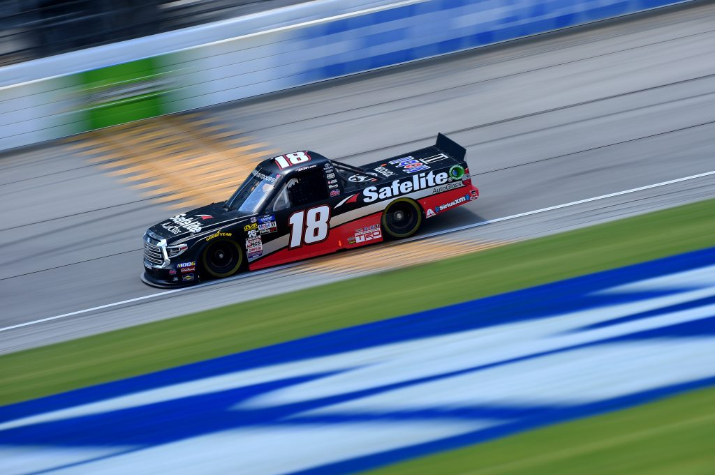 JOLIET, ILLINOIS - JUNE 27: Harrison Burton, driver of the #18 Safelite AutoGlass Toyota, practices for the NASCAR Gander Outdoors Truck Series Camping World 225 at Chicagoland Speedway on June 27, 2019 in Joliet, Illinois. (Photo by Jared C. Tilton/Getty Images) | Getty Images