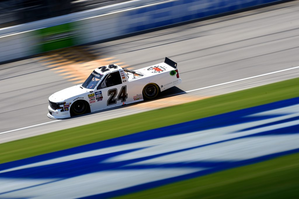 JOLIET, ILLINOIS - JUNE 27: Brett Moffitt, driver of the #24 GMS Chevrolet, practices for the NASCAR Gander Outdoors Truck Series Camping World 225 at Chicagoland Speedway on June 27, 2019 in Joliet, Illinois. (Photo by Jared C. Tilton/Getty Images) | Getty Images