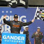 JOLIET, ILLINOIS - JUNE 28: Brett Moffitt, driver of the #24 GMS Chevrolet, celebrates in Victory Lane after winning the NASCAR Gander Outdoors Truck Series Camping World 225 at Chicagoland Speedway on June 28, 2019 in Joliet, Illinois. (Photo by Matt Sullivan/Getty Images) | Getty Images