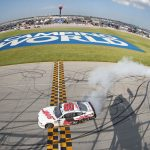 JOLIET, ILLINOIS - JUNE 29: Cole Custer, driver of the #00 Haas Automation Ford, celebrates with a burnout after winning the NASCAR Xfinity Series Camping World 300 at Chicagoland Speedway on June 29, 2019 in Joliet, Illinois. (Photo by Matt Sullivan/Getty Images) | Getty Images