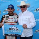 JOLIET, ILLINOIS - JUNE 29: Austin Dillon, driver of the #3 Dow Univar Solutions Chevrolet, poses with his grandfather and team owner, Richard Childress, after posting the quickest lap during qualifying for the Monster Energy NASCAR Cup Series Camping World 400 at Chicagoland Speedway on June 29, 2019 in Joliet, Illinois. (Photo by Jonathan Daniel/Getty Images) | Getty Images