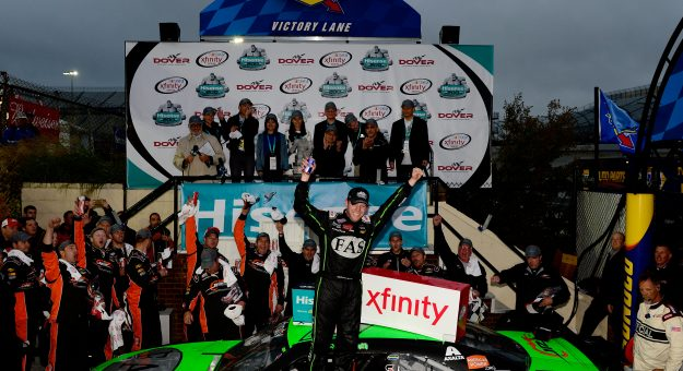 DOVER, DE - OCTOBER 03:  Regan Smith, driver of the #7 Fire Alarm Services Chevrolet, celebrates in Victory Lane after winning the NASCAR XFINITY Series Hisense 200 at Dover International Speedway on October 3, 2015 in Dover, Delaware.  (Photo by Jeff Curry/Getty Images) | Getty Images