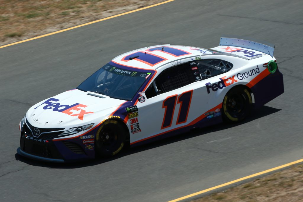 SONOMA, CALIFORNIA - JUNE 21: Denny Hamlin, driver of the #11 FedEx Ground Toyota, practices for the Monster Energy NASCAR Cup Series Toyota/Save Mart 350 at Sonoma Raceway on June 21, 2019 in Sonoma, California. (Photo by Sean Gardner/Getty Images) | Getty Images