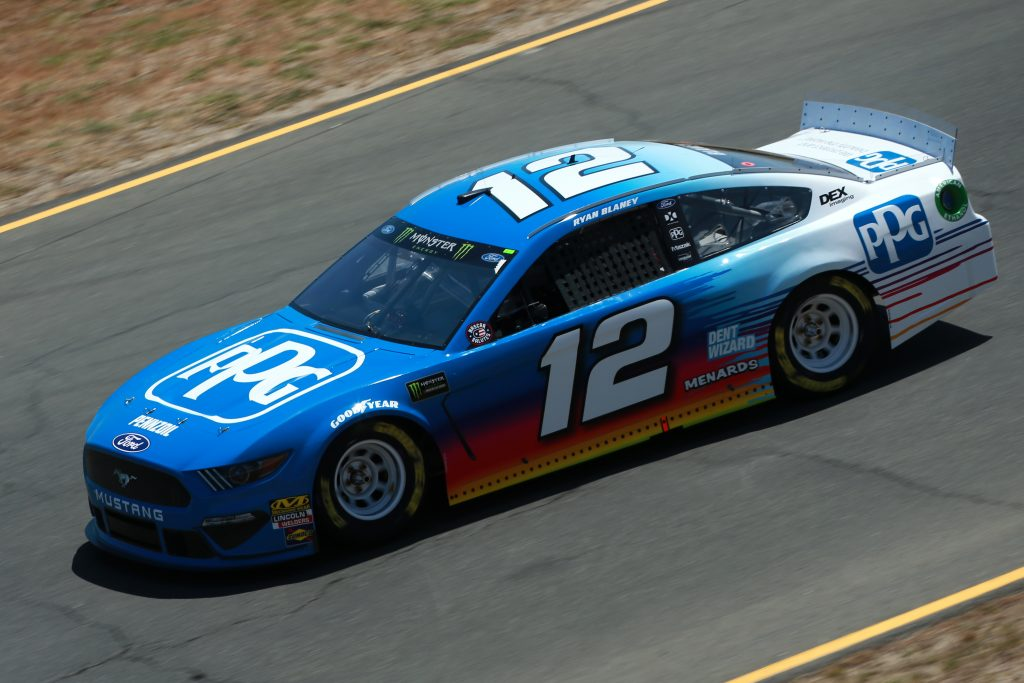 SONOMA, CALIFORNIA - JUNE 21: Ryan Blaney, driver of the #12 PPG Ford, practices for the Monster Energy NASCAR Cup Series Toyota/Save Mart 350 at Sonoma Raceway on June 21, 2019 in Sonoma, California. (Photo by Sean Gardner/Getty Images) | Getty Images