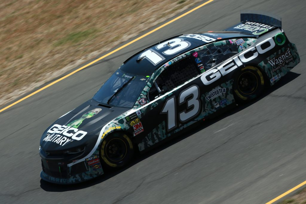 SONOMA, CALIFORNIA - JUNE 21: Ty Dillon, driver of the #13 GEICO Military Chevrolet, practices for the Monster Energy NASCAR Cup Series Toyota/Save Mart 350 at Sonoma Raceway on June 21, 2019 in Sonoma, California. (Photo by Sean Gardner/Getty Images) | Getty Images