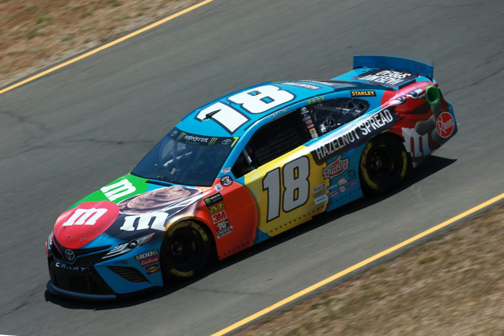 SONOMA, CALIFORNIA - JUNE 21: Kyle Busch, driver of the #18 M&M's Hazelnut Toyota, practices for the Monster Energy NASCAR Cup Series Toyota/Save Mart 350 at Sonoma Raceway on June 21, 2019 in Sonoma, California. (Photo by Sean Gardner/Getty Images) | Getty Images