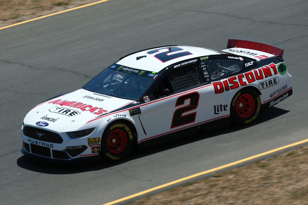 SONOMA, CALIFORNIA - JUNE 21: Brad Keselowski, driver of the #2 America's Tire Ford, practices for the Monster Energy NASCAR Cup Series Toyota/Save Mart 350 at Sonoma Raceway on June 21, 2019 in Sonoma, California. (Photo by Sean Gardner/Getty Images) | Getty Images