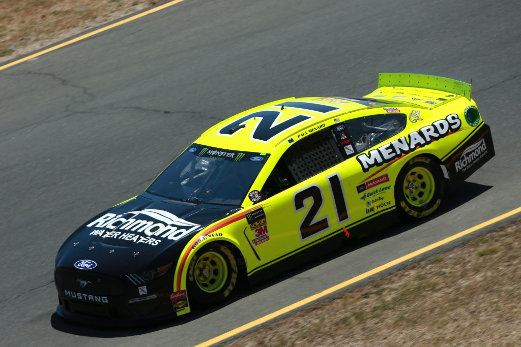 SONOMA, CALIFORNIA - JUNE 21: Paul Menard, driver of the #21 Menards/Richmond Ford, practices for the Monster Energy NASCAR Cup Series Toyota/Save Mart 350 at Sonoma Raceway on June 21, 2019 in Sonoma, California. (Photo by Sean Gardner/Getty Images) | Getty Images