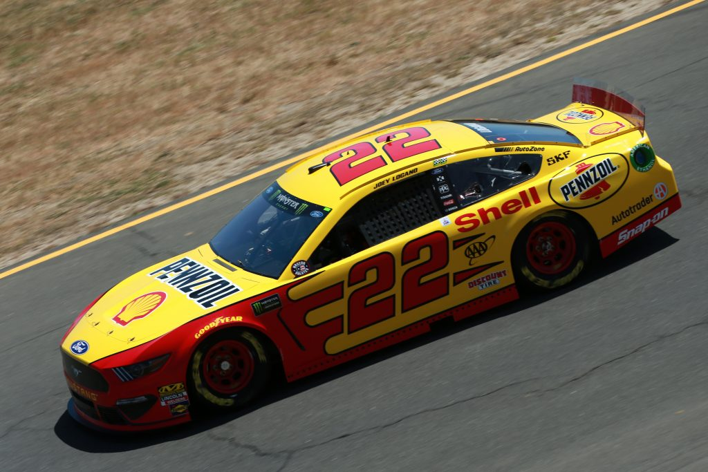 SONOMA, CALIFORNIA - JUNE 21: Joey Logano, driver of the #22 Shell Pennzoil Ford, practices for the Monster Energy NASCAR Cup Series Toyota/Save Mart 350 at Sonoma Raceway on June 21, 2019 in Sonoma, California. (Photo by Sean Gardner/Getty Images) | Getty Images
